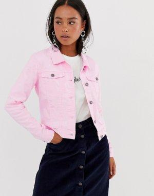 Розовая джинсовая куртка Noisy May. Цвет: розовый