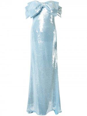 Платье макси с открытыми плечами и бантом Badgley Mischka. Цвет: синий