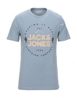 Футболка JACK & JONES. Цвет: грифельно-синий