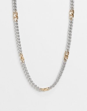 Ожерелье в виде цепочки с крупными звеньями разного цвета ASOS DESIGN-Многоцветный