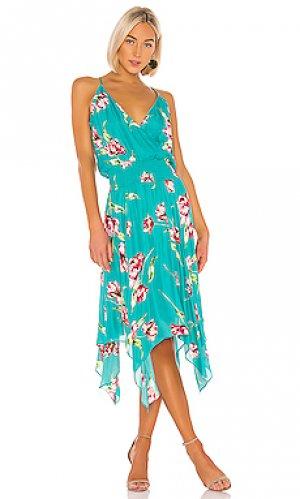 Платье в цветочек nolen Parker. Цвет: синий