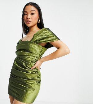 Платье мини из тафты оливкового цвета с открытыми плечами, сборками и шнуровкой на спине ASOS DESIGN Petite-Зеленый цвет Petite