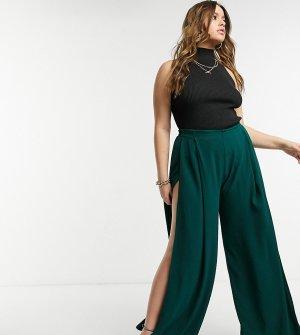Зеленые брюки с широкими штанинами Plus-Зеленый Elvi