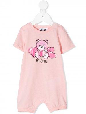 Комбинезон для новорожденного Teddy Bear с короткими рукавами Moschino Kids. Цвет: розовый