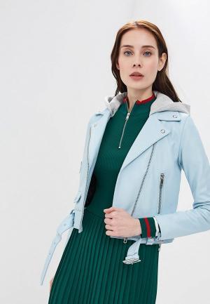 Куртка кожаная Tommy Hilfiger. Цвет: голубой