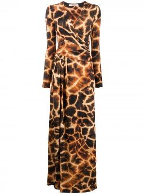 Длинное платье с принтом Roberto Cavalli. Цвет: коричневый