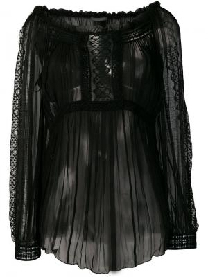 Sheer pleated blouse Alberta Ferretti. Цвет: черный