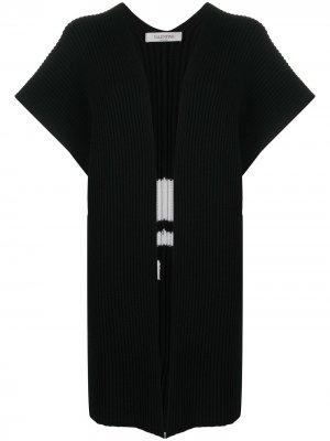 Пончо с логотипом VLTN вязки интарсия Valentino. Цвет: черный