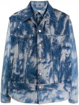 Многослойная куртка из вареного денима AMBUSH. Цвет: синий