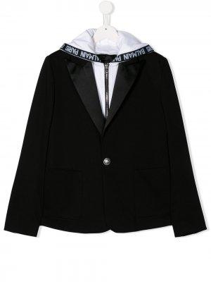 Пиджак с капюшоном Balmain Kids. Цвет: черный