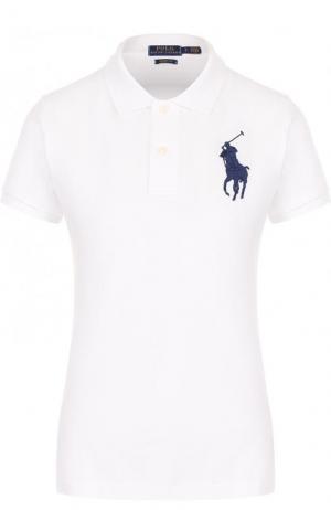 Хлопковое поло с вышитым логотипом бренда Polo Ralph Lauren. Цвет: белый