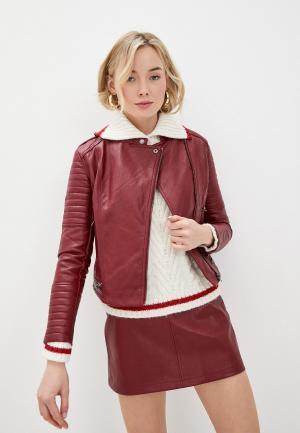 Куртка кожаная Pepe Jeans LENNA. Цвет: красный