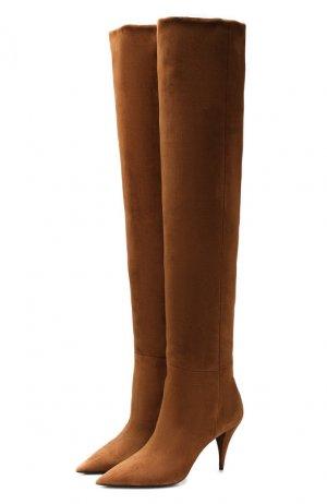 Замшевые ботфорты Kiki Saint Laurent. Цвет: коричневый