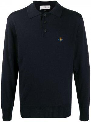 Рубашка поло с вышивкой Orb Vivienne Westwood. Цвет: синий