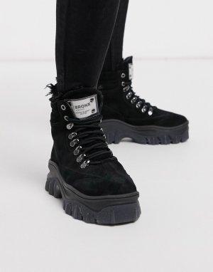 Кожаные походные ботинки на массивной подошве -Черный Bronx
