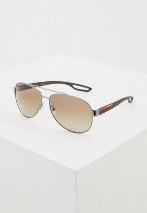 Очки солнцезащитные Prada Linea Rossa PS 55QS 5AV1X1. Цвет: серебряный