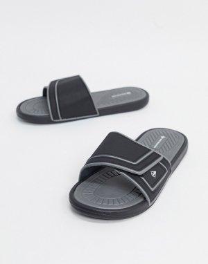Черные шлепанцы с логотипом -Черный Dunlop