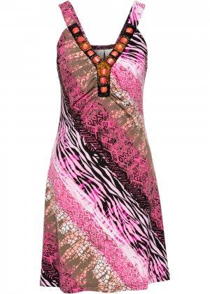 Летнее платье bonprix. Цвет: ярко-розовый