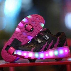 Кроссовки с колесами и линией передачи данных для девочек SHEIN. Цвет: чёрный