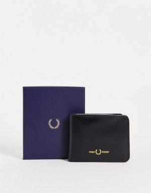 Черный классический бумажник из матовой кожи -Черный цвет Fred Perry