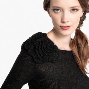 Пуловер с круглым вырезом и деталями в виде цветов LA REDOUTE COLLECTIONS. Цвет: розовый,сливовый,черный