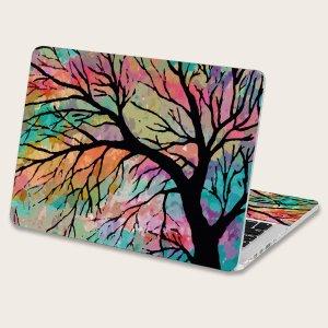 2шт Наклейка для ноутбука с рисунком дерева SHEIN. Цвет: многоцветный