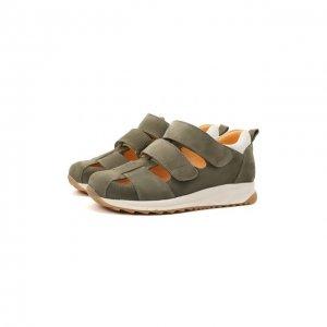 Кожаные кроссовки Angulus. Цвет: хаки