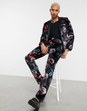 Костюмные брюки из черного бархата с крупным цветочным принтом -Черный цвет Twisted Tailor