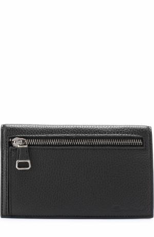Кожаный футляр для документов с отделениями кредитных карт Santoni. Цвет: черный