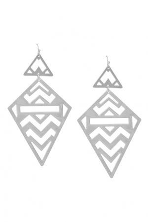Серебристые серьги с треугольниками Aqua. Цвет: серебряный