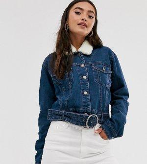 Джинсовая куртка с отстегивающимся меховым воротником -Синий Urban Bliss