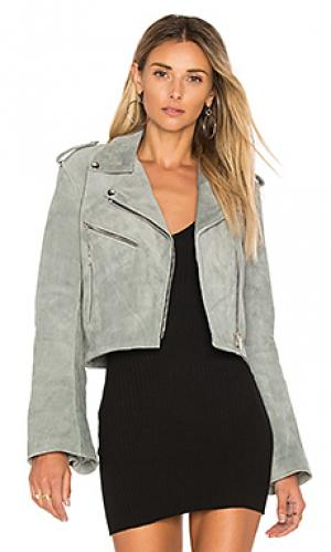 Cropped bell sleeve mc jacket Understated Leather. Цвет: серый