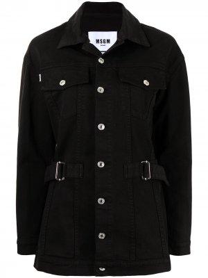 Джинсовая куртка с поясом MSGM. Цвет: черный