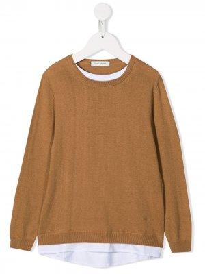 Двухцветный пуловер с длинными рукавами Paolo Pecora Kids. Цвет: коричневый