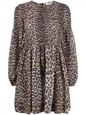 Платье с леопардовым принтом и длинными рукавами GANNI. Цвет: коричневый