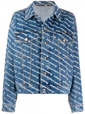 Джинсовая куртка с логотипом Alexander Wang. Цвет: синий