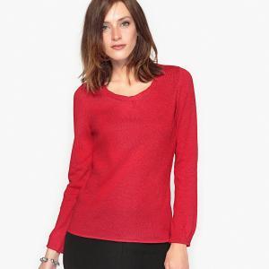 Пуловер с оригинальным вырезом из шерсти и альпаки ANNE WEYBURN. Цвет: красный