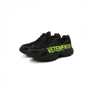 Текстильные кроссовки VETEMENTS. Цвет: чёрный