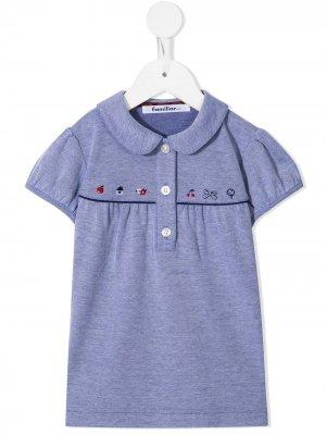 Рубашка поло с вышивкой Familiar. Цвет: синий