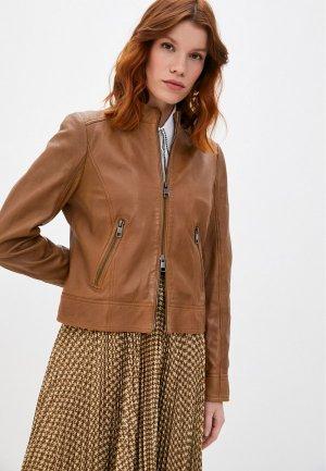 Куртка кожаная Boss C_Sabelia. Цвет: коричневый