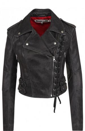 Кожаная куртка с косой молнией MCQ. Цвет: темно-серый