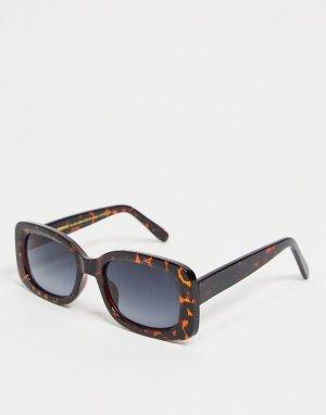 Квадратные солнцезащитные очки в коричневой черепаховой оправе стиле унисекс Salo-Коричневый цвет A.Kjaerbede