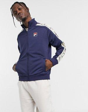 Темно-синяя спортивная куртка с широкой отделкой кантом -Темно-синий Fila