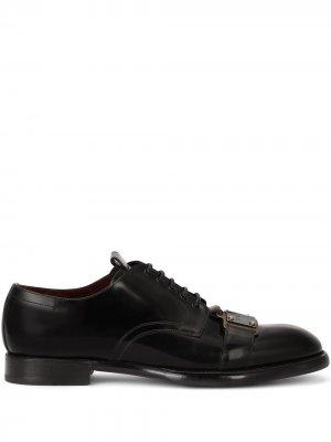 Туфли дерби с логотипом Dolce & Gabbana. Цвет: черный