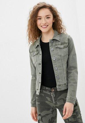 Куртка джинсовая B.Style. Цвет: хаки