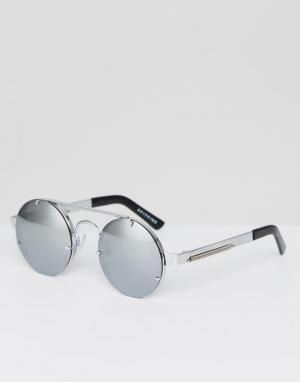 Круглые солнцезащитные очки в серебристой оправе Lennon2 Spitfire. Цвет: серебряный