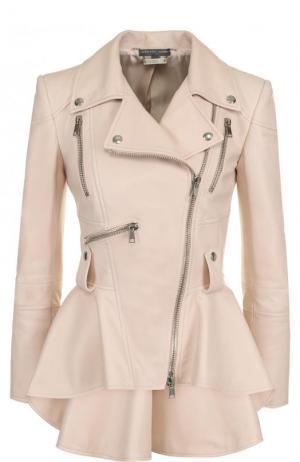 Приталенная кожаная куртка с удлиненной спинкой Alexander McQueen. Цвет: розовый