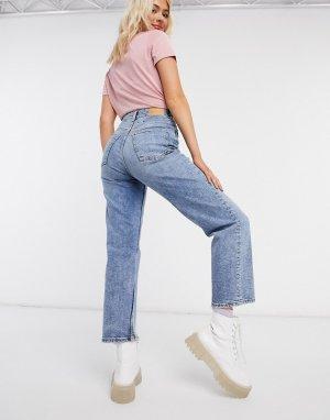 Прямые джинсы до щиколотки с завышенной талией -Синий Monki