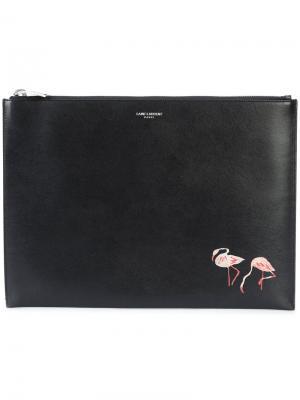 Клатч с принтом фламинго Saint Laurent. Цвет: чёрный