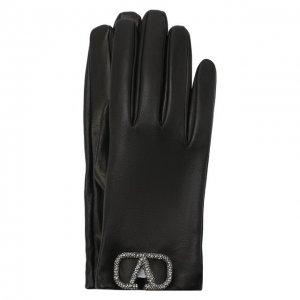 Кожаные перчатки Valentino. Цвет: чёрный